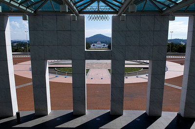 Looking at Old Parliament House (and way in the distance, the War Memorial) from New Parliament House