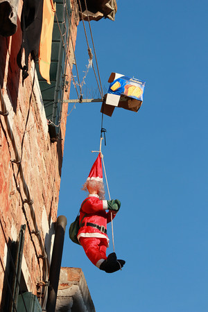 Italy, Venice, Christmas Decoration outside of an apartment