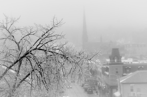 iced city black and white