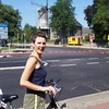 Caroline on a bicycle ride in Veenendaal.