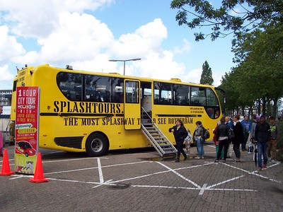 Our Rotterdam tour bus. The bus is also a boat and would later splash into the Maas River and cruise around the ship channel.