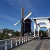 An old drawbridge and windmill in Leiden.
