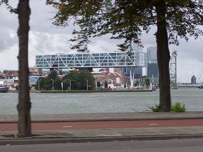 Across the ship channel in Rotterdam. The Unilever office building covers several city blocks and spans many large, old buildings underneath.