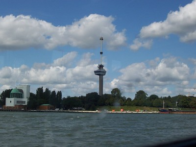 The Euromast tower from the Maas River.
