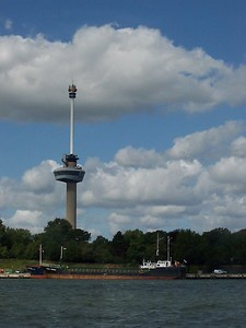 Euromast tower as seen from the Maas River.