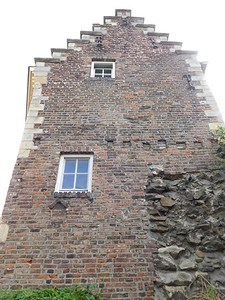 An old Dutch house built over the ancient city wall in Maastricht