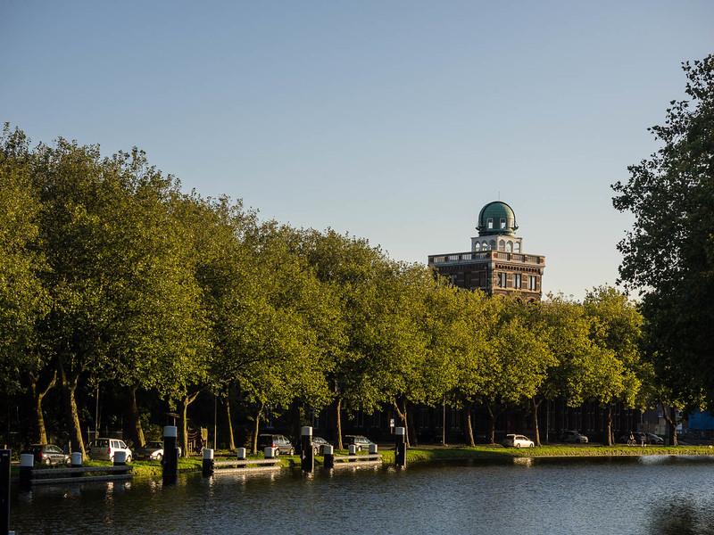 View along Rijn-Schiekanaal from Oostpoort Bridge