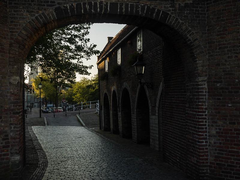 Looking through Oostpoort down Oosteinde