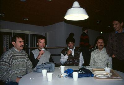 with Sarfaraz Quettawala and friends at breakfast (Delft: Holland Jan. 1995)