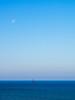 Sailing Boat, Moon & Blue Ocean