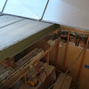 From the living room entry roof looking down at the beam being removed.