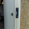Close-up of the garage door deadbolt hardware.  Again, all inletting is done with hand tools.