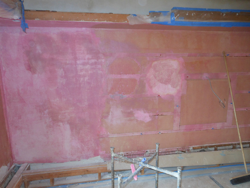 This is the library wall that was repaired back in August 2012.  In the interim, the interior plaster finish and paint color had to be determined by our conservator.