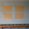 This is the paint mock-up for the library.  The samples on the left are a shade lighter than those on the right.