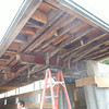 Here you can see the steel I-beams that act as the cantilever and support the roof over the porte cochere.