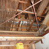The garage ceiling.  You can see that the HVAC duct has been installed in the empty space above the original remaining lath.  This original lath will be kept in place and we are trying to figure out a way to display it, for educational purposes.