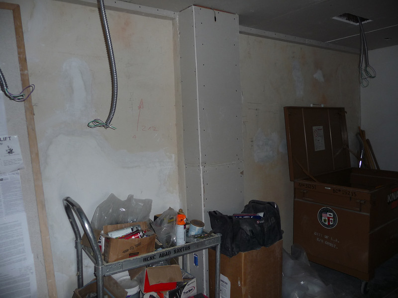 Here is the opposite side wall, and you can see where the wall was furred out to cover another steel column.