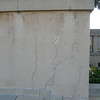 Exterior wall of the library.  You can see the crack that is shown in the previous image.