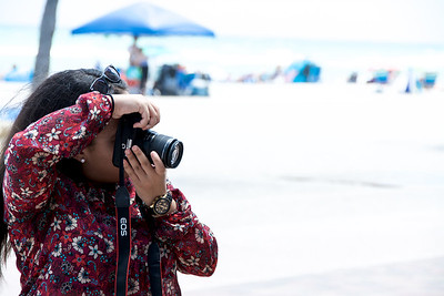 taking photos at Hollywood Beach, Florida