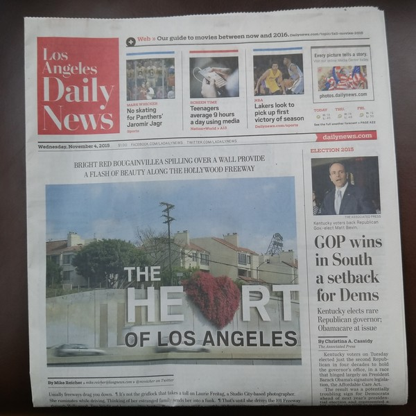 Laurie Freitag-cover of Daily News-Hollywood Heart Project