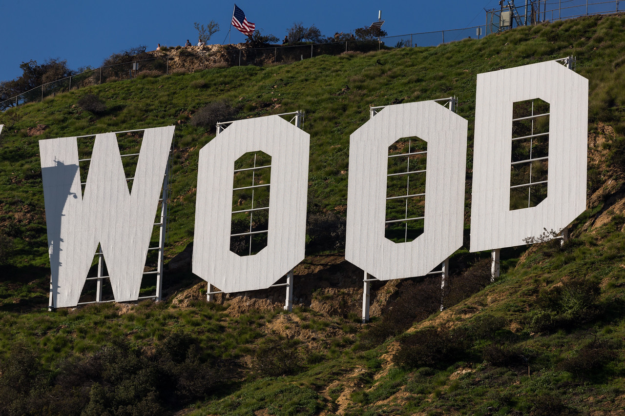 """Heh heh """"WOOD"""". The Hollywood sign."""