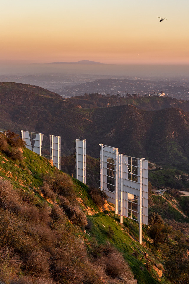 Behind the Hollywood sign at sunset