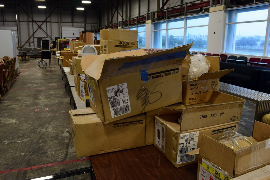 . Boxes of light fixtures for sale at the upcoming Michigan Motion Pictures Studios garage sale which takes place from 10 a.m. to 4 p.m. on Friday, July 14 and Saturday, July 15 at Gate 2 of the studio, located at 1999 Centerpoint Parkway in Pontiac.