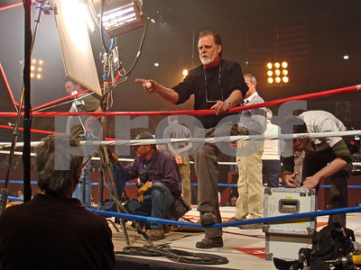Director Taylor Hackford on set of The Love Ranch in New Mexico, Chuck Cohen brought in to help film the boxing action scenes
