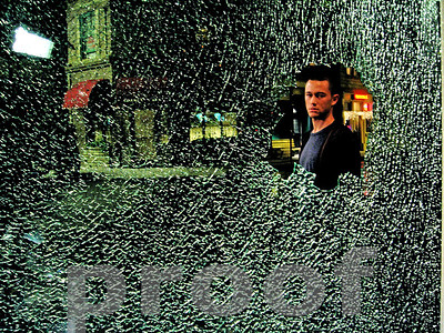 Joseph Gordon Levitt during a scene from the feature film Stop-Loss on which Chuck was DP of Additional Photography scenes, including this one, when his character got drunk and threw a beer bottle through a jewelry store window while his buddies tried to calm him down.