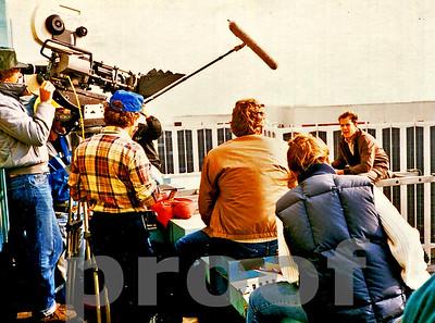 Bruce Willis on set of Moonlighting TV pilot, Chuck Cohen operates camera