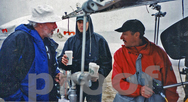 Robert Towne, screenwriter/director, discusses a shot with 2nd Unit DP Chuck Cohen on the set of Without Limits.