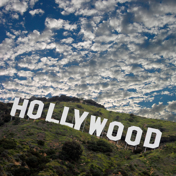 Hollywood sign and clouds