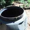 Damage to left rain barrel
