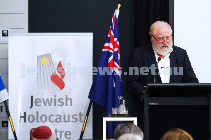 27-1-15. Holocaust Memorial Day. 70th anniversary of the liberation of Auschwitz. Commemoration at the Melbourne Holocaust Museum and Research Centre. Professor David Mittelberg. Photo: Peter Haskin