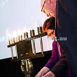 27-1-15. Holocaust Memorial Day. 70th anniversary of the liberation of Auschwitz. Commemoration at the Melbourne Holocaust Museum and Research Centre.  Lighting memorial candles. Photo: Pete ...