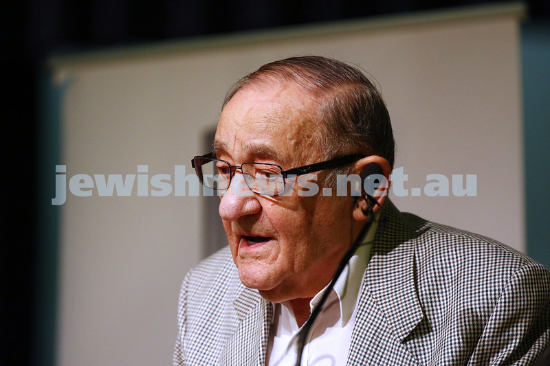 27-1-16. Holocaust Rememberance Day at Glen Eira Town Hall. Survivor testimony, Moshe Fiszman.  Photo: Peter Haskin