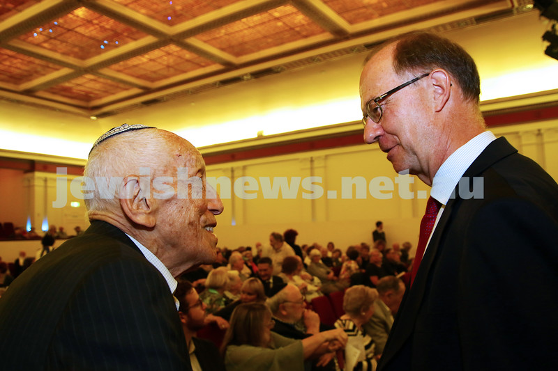 27-1-16. Holocaust Rememberance Day at Glen Eira Town Hall. Max Stern (left) with Austrian Ambassador to Australia Helmut Bock. Photo: Peter Haskin