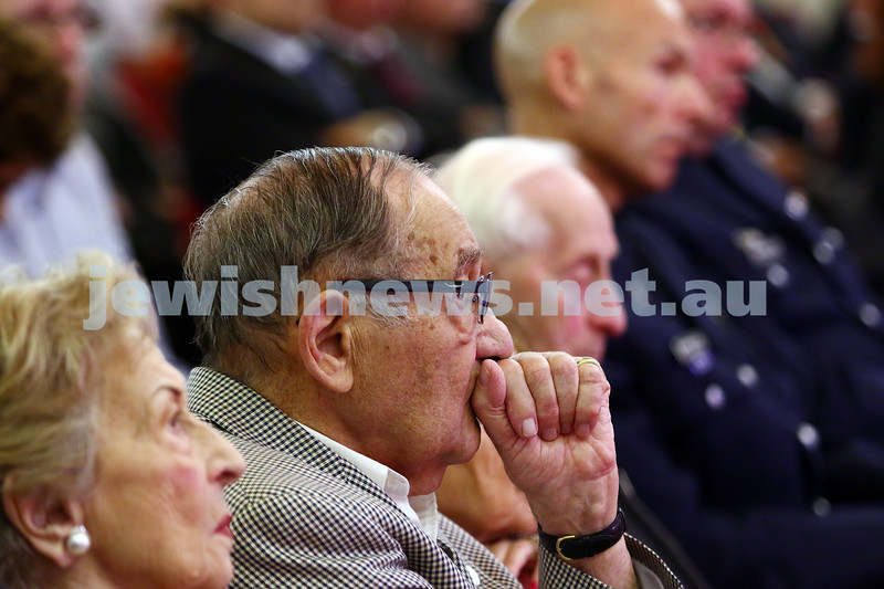 27-1-16. Holocaust Rememberance Day at Glen Eira Town Hall.  Moshe Fiszman. Photo: Peter Haskin