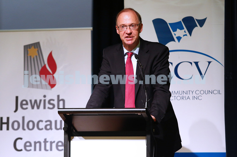 27-1-16. Holocaust Rememberance Day at Glen Eira Town Hall. Austrian Ambassador to Australia Helmut Bock. Photo: Peter Haskin