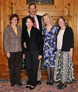 Head of School, Susanna Jones; Margo Klass; Frank Soos; Breedlove Chair and English Department, Marsha Scherbel; and Chair Music Department, Ann Vaughn