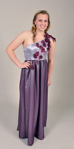 Purple one shoulder chiffon and satin gown with petal and Swarovski detail