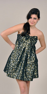 Silver and gold brocade strapless cocktail dress with bow front detail