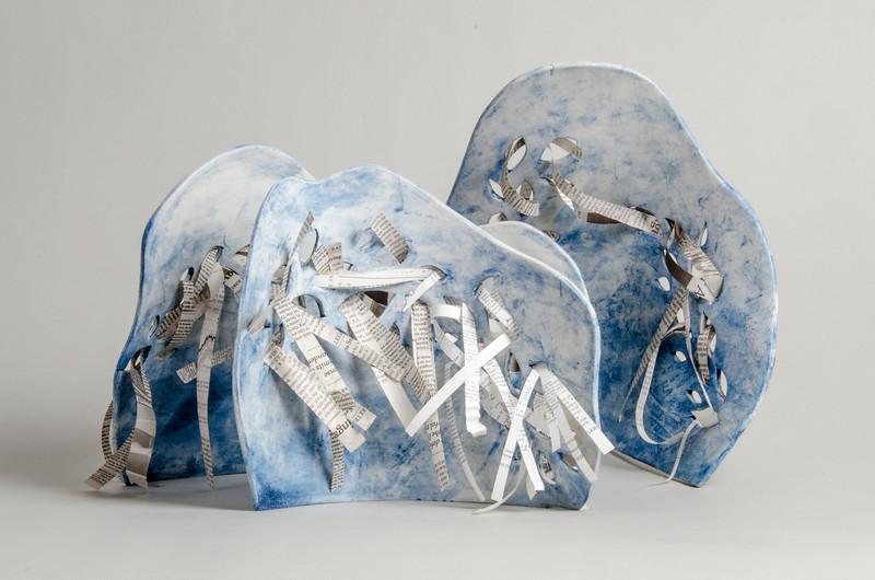 """5.Sculpture Book/ handbuilt/ porcelain/stain/newspaper:  height:10""""  width:11 1/2"""""""