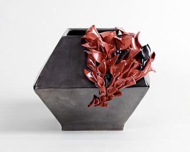 """1.""""Hope Grows from Dark Moments""""/ handbuilt/ / terra-cotta/ glaze:  height: 6 1/2"""" width: 8"""""""