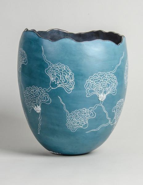 "3.Flower vessel/ handbuilt/earthenware/ terra sigillata/ glaze/ beads:  height: 11"" diameter: 8 1/2"""