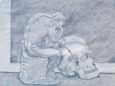"1 Thinker and Skull, pencil drawing, 18"" x 24"""