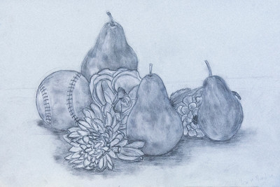 "5 Fruit, Flowers, and Baseball, charcoal drawing, 12"" x 18"""