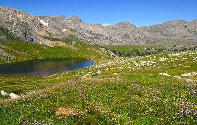 Treasure Vault Lake and abundant wildflowers