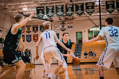 Holy Family Boys Basketball Section Quarterfinal vs. Watertown Mayer Mar 7, 2019: Jacob Zay '19 (3)