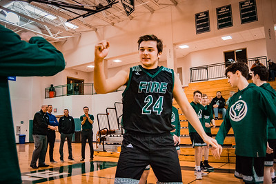 Holy Family Boys Basketball Section Quarterfinal vs. Watertown Mayer Mar 7, 2019: Ryan Bowlin '19 (24)]